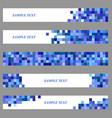 Blue square mosaic web banner design set vector image