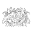 Coloring page with heart and abstract element vector image