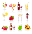 dessert and drink icons vector image