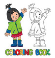 funny little girl coloring book vector image