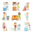 Kids Doing A Home Cleanup vector image