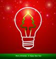 Merry Christmas tree in light bulb vector image