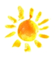 watercolor sun icon vector image