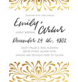 wedding golden invite save the date card design vector image