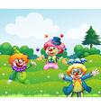 Three clowns at the garden vector image vector image