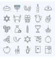 Line Holiday Happy Hanukkah Icons Set vector image