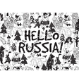 Hello Russia black on white card snow and winter vector image