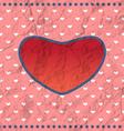 Vintage crumpled heart frame vector image