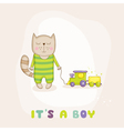 Baby Cat with a Train Baby Shower or Arrival Card vector image vector image