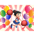 A cheerdancer in the middle of the balloons vector image