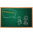 A board with a sketch of two people skateboarding vector image vector image
