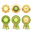 green award rosettes with gold heraldic medal vector image vector image