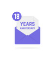 18 years anniversary icon in open envelope vector image