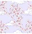 Seamless pattern with sakura and clouds vector image