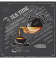 Black Tea Time card with cup teapot and spoon vector image