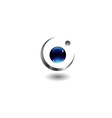 Crescent moon shaped logo vector image