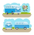 Hippie vintage mini van vector image