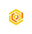 maze shape abstract geometry technology logo vector image