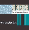 set of 4 seamless patterns in blue and brown vector image