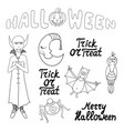 set of cartoon halloween characters and words vector image