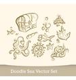 Sea doodle set isolated on white background vector image