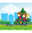 A bike with two people vector image vector image