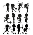 silhouette kids playing different sports vector image