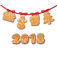 gingerbread cookies set on garland isolated vector image