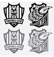 football team crest set with eagle and skull vector image