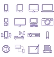 Gadgets and technology icons set linear style vector image