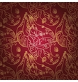 Golden lace ornament on deep red background vector image