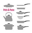 Flat utensil set Pots pans kettle vector image