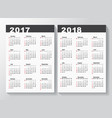 calendar template for 2017 and 2018 years vector image
