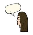 Cartoon female face profile with speech bubble vector image