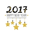Happy New Year 2017 card with gold stars isolated vector image