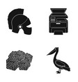 helmet printer and other web icon in black style vector image