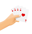 hand with love cards vector image vector image