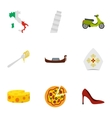 Italy culture elements icons set flat style vector image