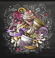 ice cream cartoon doodle watercolor vector image