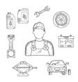 Auto mechanic profession sketch symbol vector image