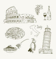 freehand drawing italy items on a sheet vector image
