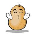 Kissing smile eyes potato character cartoon style vector image