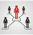 teamwork concept leadership with square head vector image