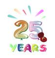 twenty five years greeting card vector image