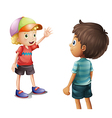 A boy waving at his friend vector image vector image