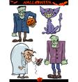 Halloween Cartoon Creepy Themes Set vector image vector image