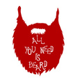 Beard with Text isolated on white background vector image
