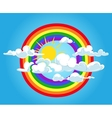 Circle rainbow and clouds blue sky vector image