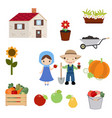 set of trees and gardening icons set of trees and vector image