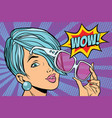 sunglasses pop art woman wow reaction vector image